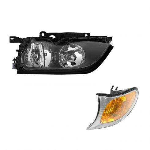02-05 BMW 3 Series Sedan & SW Headlight & Corner Light w/Chrome Trim LF