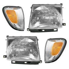 98-00 Toyota Tacoma 4x4 Headlight & Corner Marker Light SET of 4