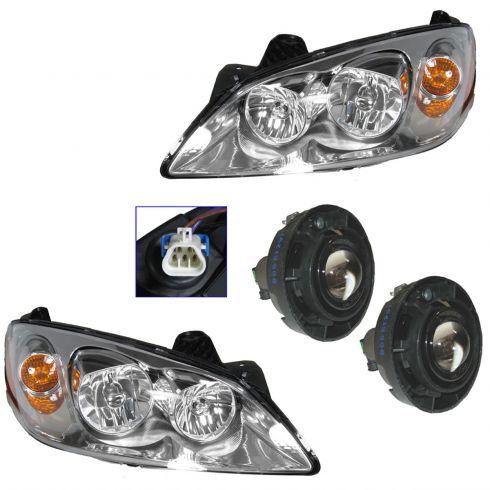 08-09 Pontiac G6 GT (exc Sport) Headlight & Fog Light Kit (Set of 4)