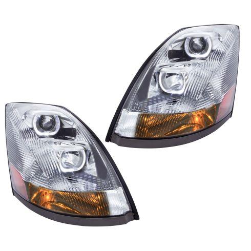 04-17 Volvo VNL VNM Chrome Performance Projector Headlight Pair