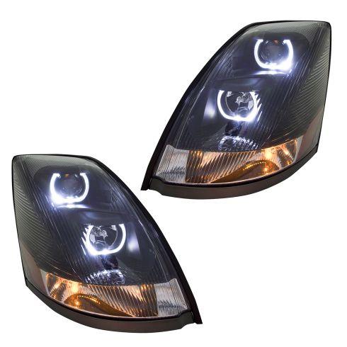 04-17 Volvo VNL VNM Black Performance Projector Headlight Pair