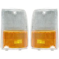 87-90 Chevy Caprice Headlight Bezel Mounted Corner Parking Light PAIR