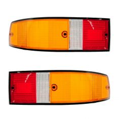 70-89 Porsche 911; 66-69, 76 912 Red, Yellow, White w/Black Trim Taillight Lens PAIR