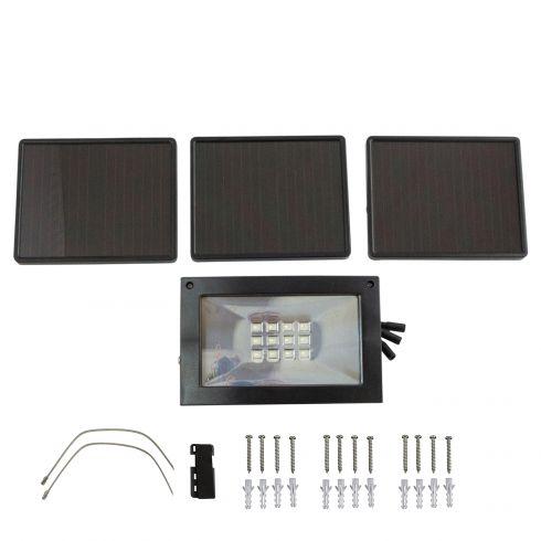 Solar-Powered Ultra-Bright Black Flood Light w/3 Charging Panels