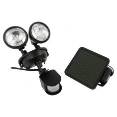 Solar-Powered Motion-Activated Dual-Head LED Security Spotlight w/BLACK Housing