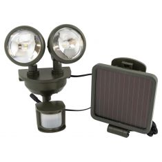 Solar-Powered Motion-Activated Dual-Head LED Security Spotlight w/DARK BRONZE Housing