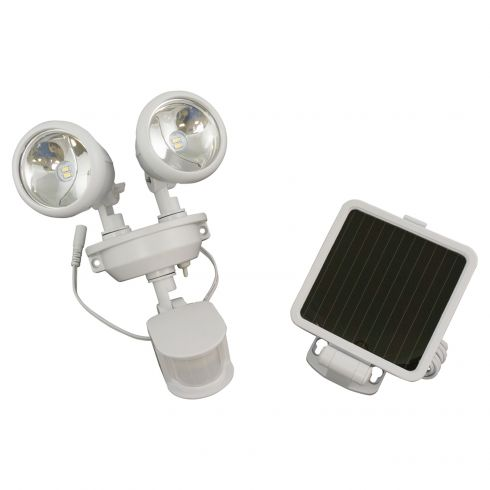 Solar-Powered Motion-Activated Dual-Head LED Security Spotlight w/WHITE Housing