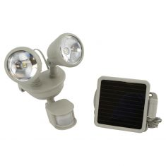 Solar-Powered Motion-Activated Dual-Head LED Secuirty Spotlight w/Off WHITE Housing