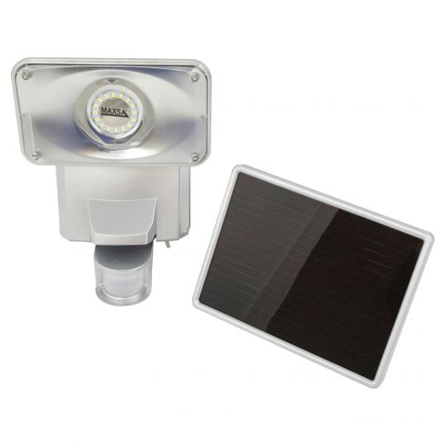 Solar-Powered Motion-Activated SMT LED Ultra Bright Security Floodlight w/SILVER Plastic Body
