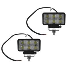 4 Inch - Rectangular (18 Watt) Auxillary Flood Beam 6 LED Offroad Work Light Pair
