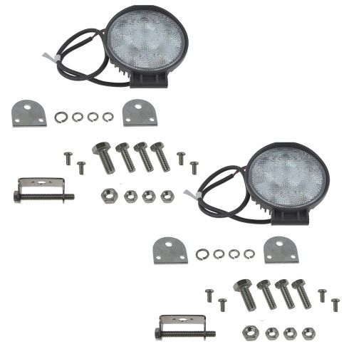 4 Inch - Round (18 Watt) Auxillary Flood Beam 6 LED Offroad Work Light Pair