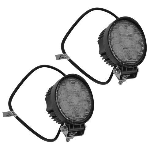 4 Inch - Round (27 Watt) Auxillary Flood Beam 9 LED Offroad Work Light Pair