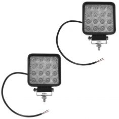 4 Inch - Square (48 Watt) Auxillary Flood Beam 16 LED Offroad Work Light Pair