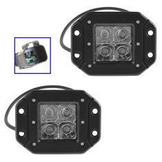 4 Inch - Square (12 Watt) Auxillary Flood Beam 4 LED Flush Mount Offroad Work Light PAIR