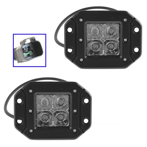 1aluk00041 Flush Mount 4 Inch Square Off Road High Quality Performance Work Light Pair