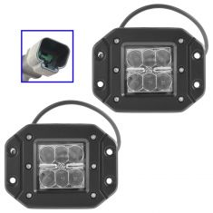 4 Inch - Square (18 Watt) Auxillary Flood Beam 6 LED Flush Mount Offroad Work Li