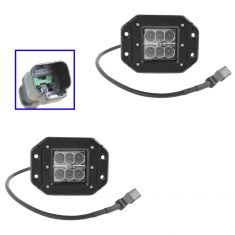 4 Inch - Square (18 Watt) Spot Beam 6 LED Flush Mount Offroad Work Light PAIR