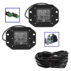 4 Inch - Square (12W) Flood Beam 4 LED Flush Mount Offroad Work Light PAIR w/ Ha