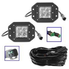 4 Inch - Square (12W) Spot Beam 4 LED Flush Mount Offroad Work Light PAIR w/ Harness