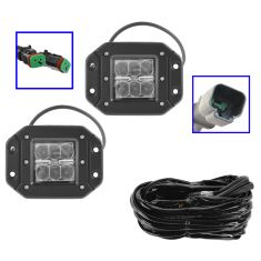 4 Inch - Square (18W) Flood Beam 6 LED Flush Mount Offroad Work Light PAIR w/ Harness