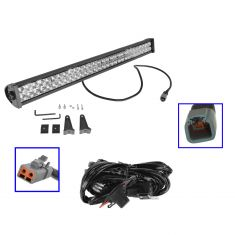 32 Inch - (180 Watt) Auxillary Flood & Spot Combination 60 LED Smooth Trim Light Bar w/ Harness