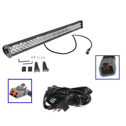 32 Inch - (180 Watt) Auxillary Flood & Spot Combination 60 LED Smooth Trim Light Bar w/ Harness