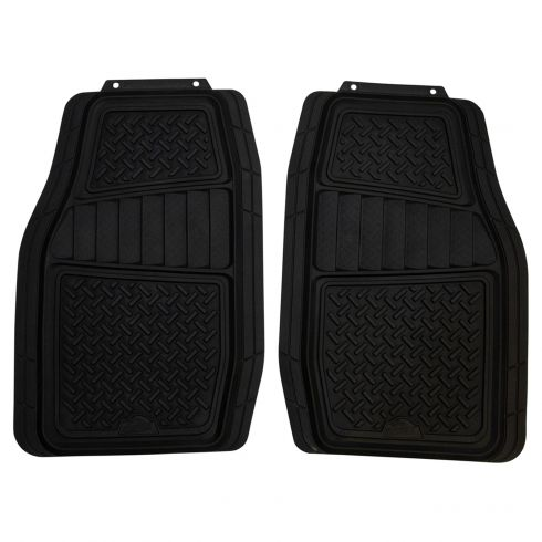 ARMOR ALL: Trim to Fit Diamond Plate Design HD BLACK Rubber Interior Truck/SUV Floor Mat (2 PCE SET)