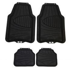 ARMOR ALL: Trim to Fit All Season Heavy Duty BLACK Rubber Interior Floor Mat (4 Piece SET)