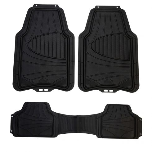 ARMOR ALL: Trim to Fit Heavy Duty BLACK Rubber Full Coverage Floor Mat (3 Piece SET)