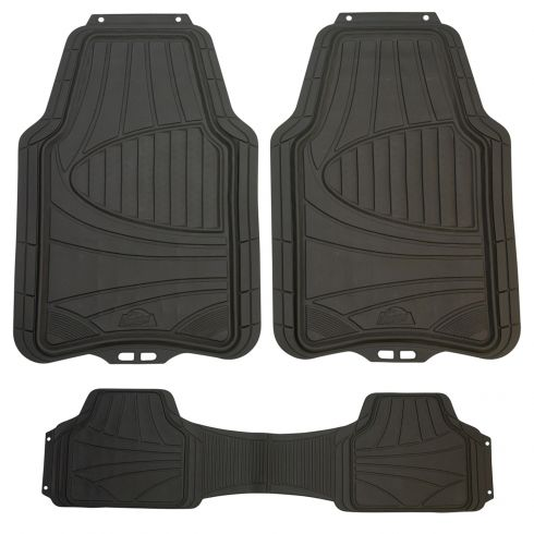 ARMOR ALL: Trim to Fit Heavy Duty GRAY Rubber Full Coverage Floor Mat (3 Piece SET)