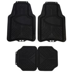 ARMOR ALL: Trim to Fit Heavy Duty BLACK Rubber w/Raised Heel Pad All Season Floor Mat (4 Piece SET)