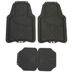 ARMOR ALL: Trim to Fit Heavy Duty GRAY Rubber w/Raised Heel Pad All Season Floor Mat (4 Piece SET)