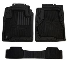 ARMOR ALL: Heavy Duty BLACK Rubber w/OE Style Full Coverage Truck Floor Mat (3 Piece SET)