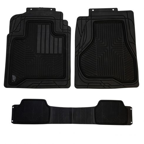 ARMOR ALL: Heavy Duty BLACK Rubber w/OE Style Full Coverage Truck Floor Mat (3 Piece SET)
