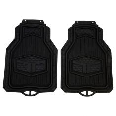 Custom Accessories TRUCK TUFF: Trim to Fit Heavy Duty BLACK Rubber Truck Floor Mat (2 Piece Set)