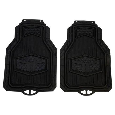 Custom Accessories TRUCK TUFF: Trim to Fit Heavy Duty BLACK Rubber Truck Floor Mat (2 Piece Set)