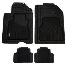 Custom Accessories Smart Fit: Trim to Fit All Season HD BLACK Rubber CAR Floor Mat (4 Piece SET)
