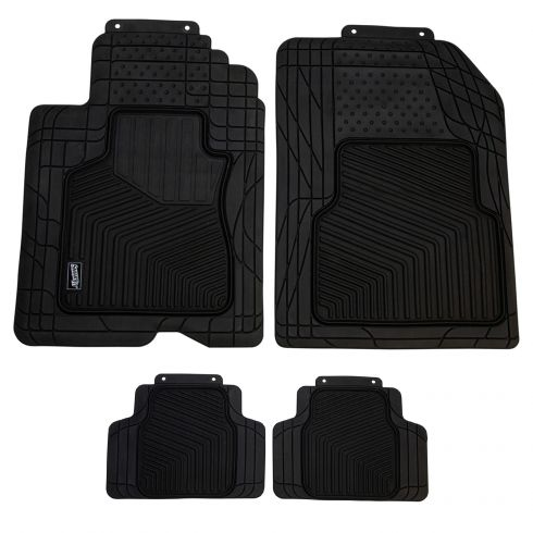 Custom Accessories Smart Fit: Trim to Fit All Season HD BLACK Rubber CAR Floor Mat (4 Piece SET)