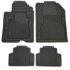 Custom Accessories Smart Fit: Trim to Fit All Season HD GRAY Rubber CAR Floor Mat (4 Piece SET)