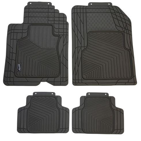 Custom Accessories Smart Fit: Trim to Fit All Season HD GRAY Rubber CAR Floor Mat (4 Piece SET)