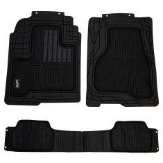 Custom Accessories Smart Fit: Trim to Fit All Season HD BLACK Rubber TRUCK Floor Mat (3 PIECE SET)