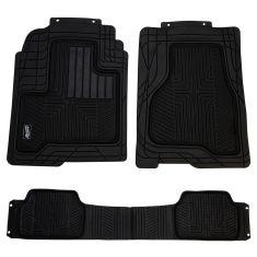 Custom Accessories Smart Fit: Trim to Fit All Season HD BLACK Rubber TRUCK Floor Mat (3 PIECE SET)