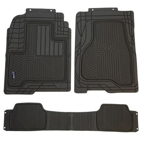 Custom Accessories Smart Fit: Trim to Fit All Season HD GRAY Rubber TRUCK Floor Mat (3 PIECE SET)