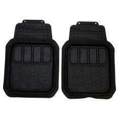 Custom Accessories Custom Mats: Trim to Fit All Season BLACK Rubber DEEP TRAY Floor Mat (2 PCE SET)