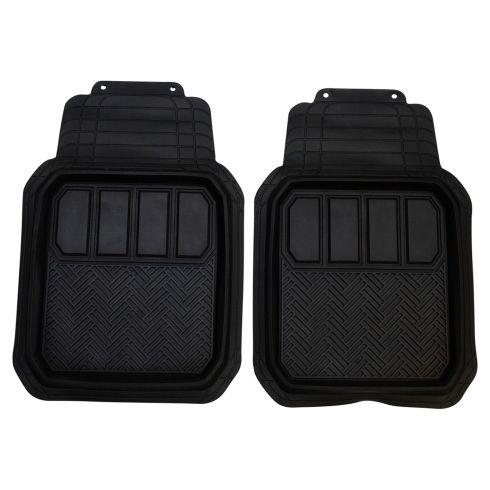 Custom Accessories Custom Mats: Trim to Fit All Season BLACK Rubber DEEP TRAY Floor Mat (2 PCE SET)