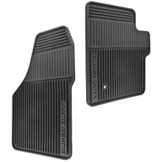 06-10 F250SD, F350SD Std Cab Mld Blk Rubber ~SUPER DUTY~ Logoed Frnt All Weather Floor Mat PAIR (FD)