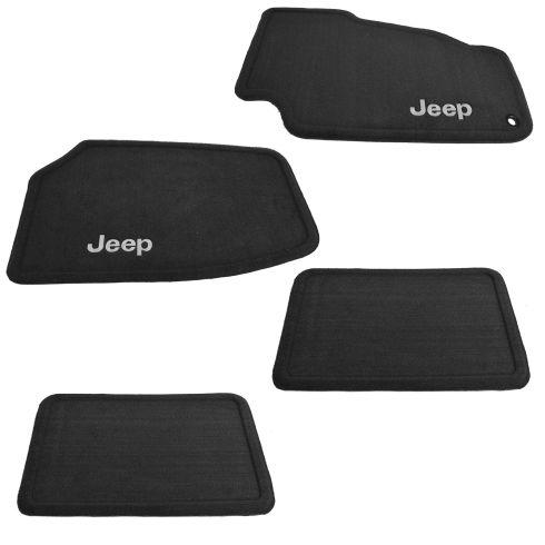 99-04 Jeep Grand Cherokee Front & Rear Slate Gray Carpet Floor Mat SET w