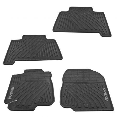 07-12 Toyota RAV4 Molded Black Rubber ~RAV4~ Logoed All Weather Floor Mat Kit (Set of 4)