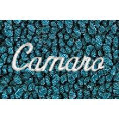 67-69 Chevy Camaro Bright Blue 80/20 Loop Frt & Rr Floor Mat w/Met Silver ~Camaro~ Script (Set of 4)
