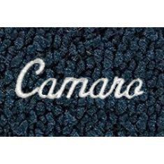 67-69 Chevy Camaro Dark Blue 80/20 Loop Frt & Rr Floor Mat w/Met Silver ~Camaro~ Script (Set of 4)